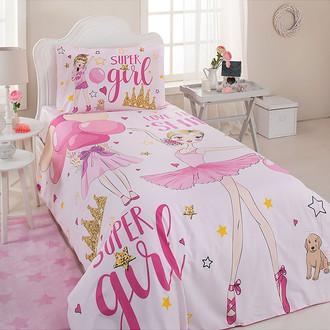 Детское постельное белье Ozdilek RANFORCE SUPER GIRL хлопковый ранфорс розовый