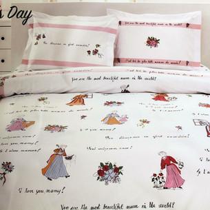 Детское постельное белье Ozdilek PIERA MOTHER'S DAY хлопковый ранфорс пудра 1,5 спальный