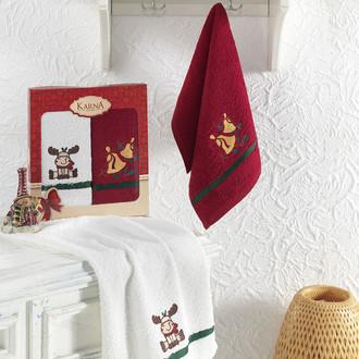 Подарочный набор кухонных полотенец 30*50(2) Karna NOEL хлопковая махра V4