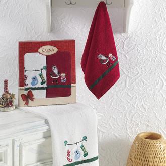 Подарочный набор кухонных полотенец 30*50(2) Karna NOEL хлопковая махра V5