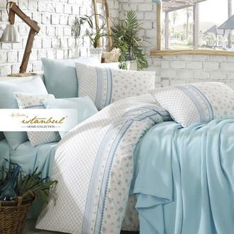 Постельное белье с покрывалом-пике Istanbul Home Collection FLORIDA хлопковый ранфорс мятный