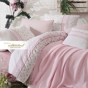 Постельное белье с покрывалом-пике Istanbul Home Collection FLORIDA хлопковый ранфорс розовый евро