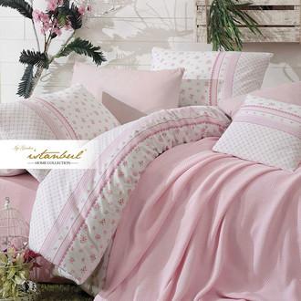 Постельное белье с покрывалом-пике Istanbul Home Collection FLORIDA хлопковый ранфорс розовый