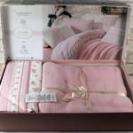 Постельное белье с покрывалом-пике Istanbul Home Collection FLORIDA хлопковый ранфорс розовый евро, фото, фотография