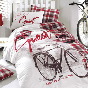 Детское постельное белье Istanbul Home Collection GENC RANFORCE FREEDOM хлопковый ранфорс красный 1,5 спальный