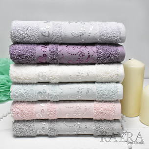 Набор полотенец для ванной 6 шт. Cestepe VIP COTTON BERIL хлопковая махра 70х140