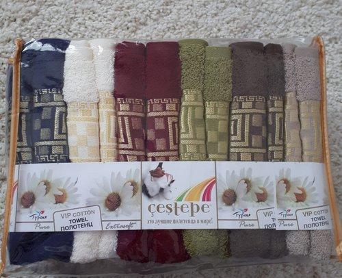 Набор полотенец для ванной 6 шт. Cestepe VIP COTTON INCI хлопковая махра 50х90, фото, фотография