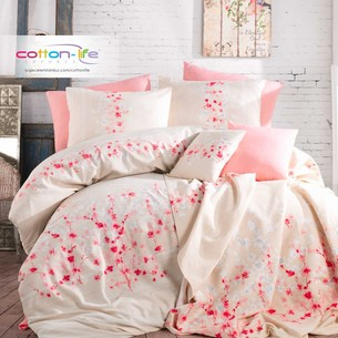 Постельное белье Istanbul Home Collection COTTON LIFE SAKURA ранфорс экрю евро