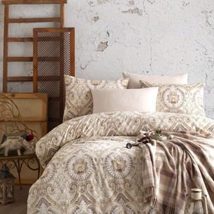 Постельное белье с пледом Istanbul Home Collection NADINE хлопковый ранфорс коричневый евро