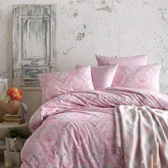Постельное белье с пледом Istanbul Home Collection NADINE хлопковый ранфорс розовый