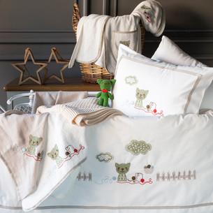 Набор в кроватку для новорожденных Pupilla BOB хлопковый сатин кремовый