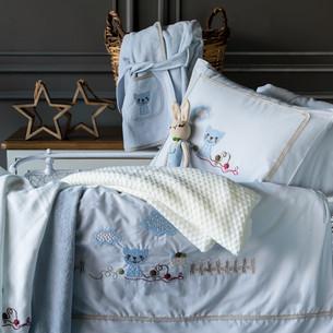 Набор в кроватку для новорожденных Pupilla BOB хлопковый сатин голубой