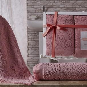 Подарочный набор полотенец для ванной 50х90, 70х140 Karna ESRA хлопковая махра розовый
