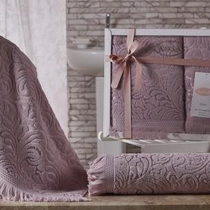 Подарочный набор полотенец для ванной 50х90, 70х140 Karna ESRA хлопковая махра грязно-розовый