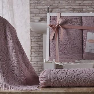 Подарочный набор полотенец для ванной 50*90, 70*140 Karna ESRA хлопковая махра грязно-розовый