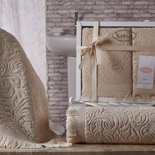 Подарочный набор полотенец для ванной 50х90, 70х140 Karna ESRA хлопковая махра бежевый