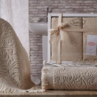 Подарочный набор полотенец для ванной 50*90, 70*140 Karna ESRA хлопковая махра бежевый