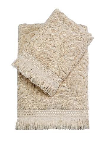Подарочный набор полотенец для ванной 50х90, 70х140 Karna ESRA хлопковая махра бежевый, фото, фотография