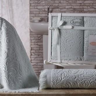 Подарочный набор полотенец для ванной 50х90, 70х140 Karna ESRA хлопковая махра светло-зелёный