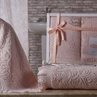 Подарочный набор полотенец для ванной 50*90, 70*140 Karna ESRA хлопковая махра абрикосовый