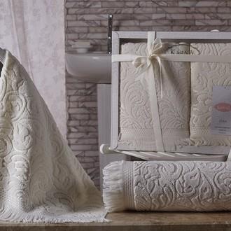 Подарочный набор полотенец для ванной 50х90, 70х140 Karna ESRA хлопковая махра кремовый