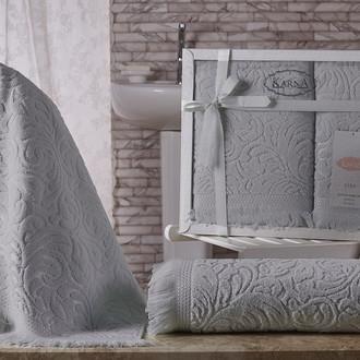 Подарочный набор полотенец для ванной 50х90, 70х140 Karna ESRA хлопковая махра серый