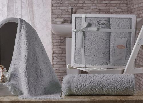 Подарочный набор полотенец для ванной 50х90, 70х140 Karna ESRA хлопковая махра серый, фото, фотография