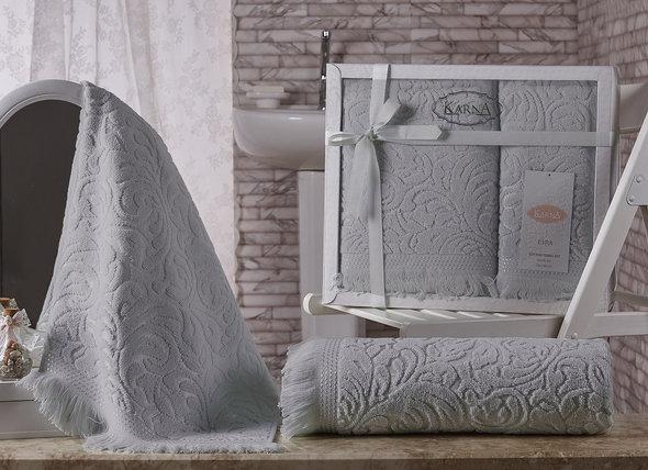Подарочный набор полотенец для ванной 50*90, 70*140 Karna ESRA хлопковая махра серый, фото, фотография