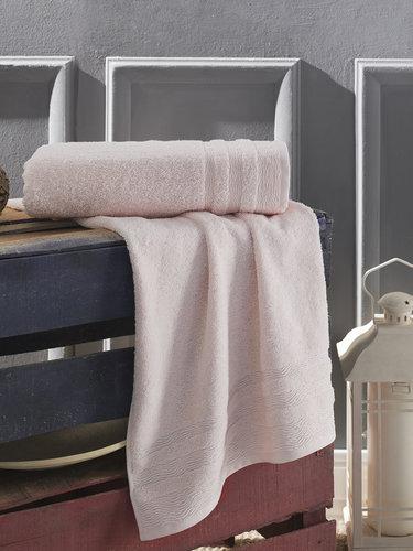 Полотенце для ванной Karna DERIN хлопковая махра пудра 70х140, фото, фотография