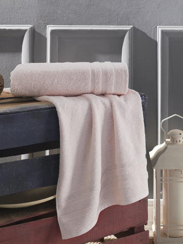 Полотенце для ванной Karna DERIN хлопковая махра пудра 50*90, фото, фотография