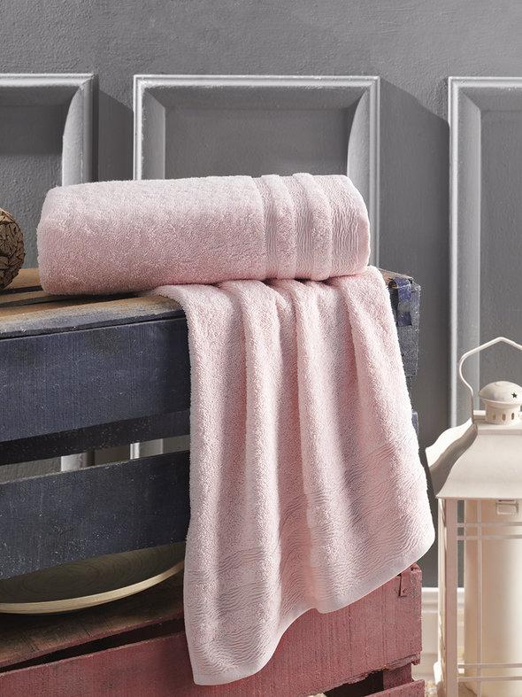 Полотенце для ванной Karna DERIN хлопковая махра розовый 70*140, фото, фотография