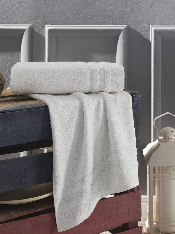 Полотенце для ванной Karna DERIN хлопковая махра кремовый 50*90, фото, фотография