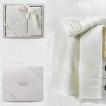 Подарочный набор полотенец для ванной 50х90, 70х140 Karna DERIN хлопковая махра кремовый, фото, фотография