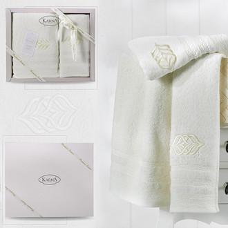 Подарочный набор полотенец для ванной 50*90, 70*140 Karna DERIN хлопковая махра кремовый
