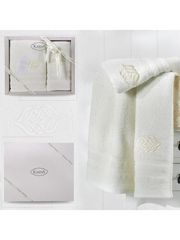 Подарочный набор полотенец для ванной 50*90, 70*140 Karna DERIN хлопковая махра кремовый, фото, фотография