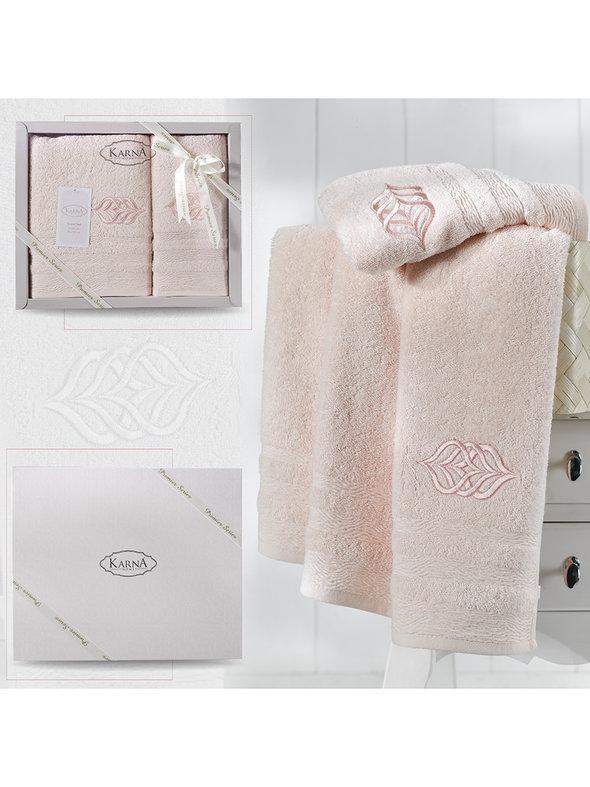 Подарочный набор полотенец для ванной 50*90, 70*140 Karna DERIN хлопковая махра пудра, фото, фотография