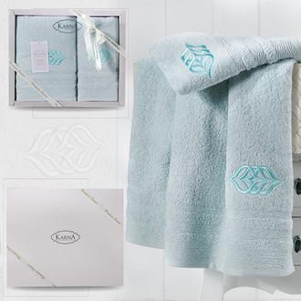 Подарочный набор полотенец для ванной 50*90, 70*140 Karna DERIN хлопковая махра ментол