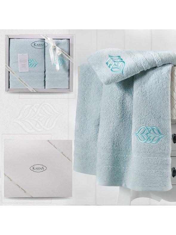 Подарочный набор полотенец для ванной 50*90, 70*140 Karna DERIN хлопковая махра ментол, фото, фотография
