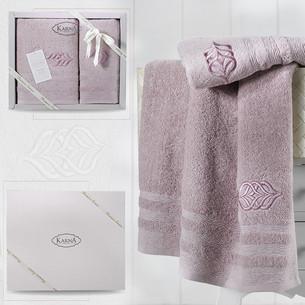 Подарочный набор полотенец для ванной 50х90, 70х140 Karna DERIN хлопковая махра светло-лавандовый