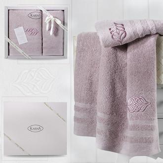 Подарочный набор полотенец для ванной 50*90, 70*140 Karna DERIN хлопковая махра светло-лавандовый