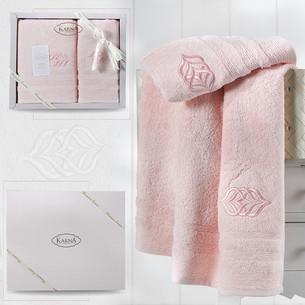 Подарочный набор полотенец для ванной 50х90, 70х140 Karna DERIN хлопковая махра розовый