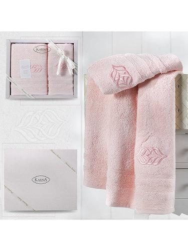 Подарочный набор полотенец для ванной 50х90, 70х140 Karna DERIN хлопковая махра розовый, фото, фотография