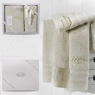 Подарочный набор полотенец для ванной 50х90, 70х140 Karna DERIN хлопковая махра кофейный