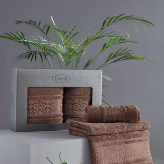 Подарочный набор полотенец для ванной 50*90, 70*140 Karna ARMOND махра бамбук/хлопок коричневый