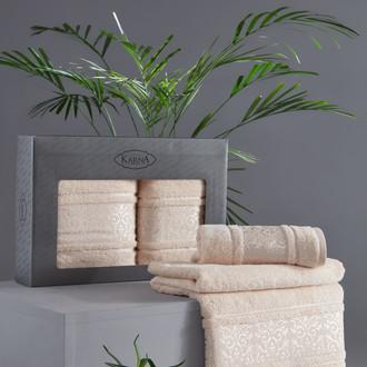 Подарочный набор полотенец для ванной 50*90, 70*140 Karna ARMOND махра бамбук/хлопок бежевый