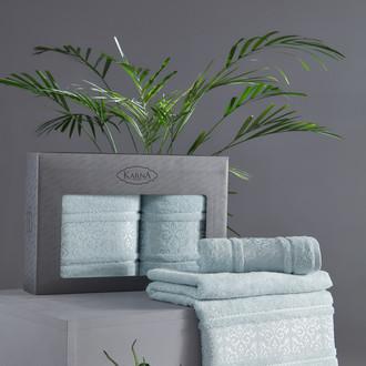 Подарочный набор полотенец для ванной 50х90, 70х140 Karna ARMOND махра бамбук/хлопок ментол