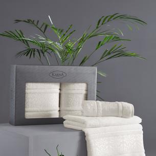 Подарочный набор полотенец для ванной 50х90, 70х140 Karna ARMOND махра бамбук/хлопок кремовый