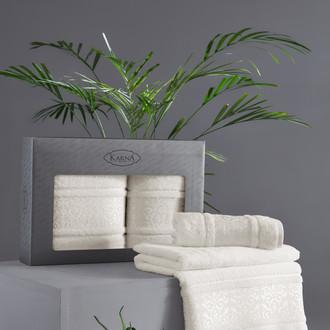 Подарочный набор полотенец для ванной 50*90, 70*140 Karna ARMOND махра бамбук/хлопок кремовый