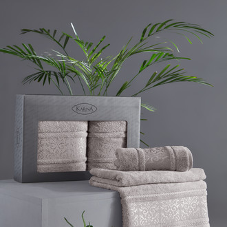 Подарочный набор полотенец для ванной 50х90, 70х140 Karna ARMOND махра бамбук/хлопок серый