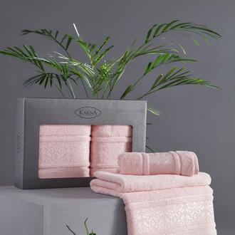 Подарочный набор полотенец для ванной 50*90, 70*140 Karna ARMOND махра бамбук/хлопок розовый